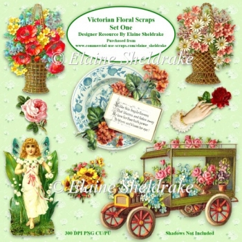 Victorian Flower Scraps Set One For Card Making Scrapbooking PNG