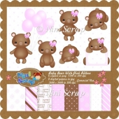 Baby Bear With Pink Ribbon