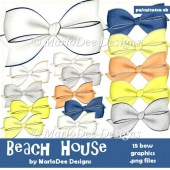 Beach House Digital Bow Graphics by MarloDee Designs