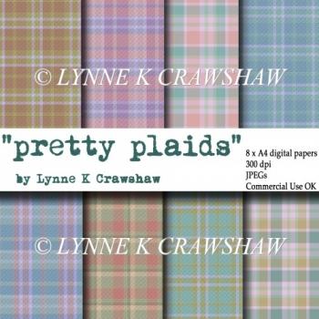 """PRETTY PLAIDS"" 8 x A4 digital papers - Commercial Use OK!"