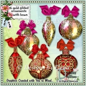 6 Gold Gilded Christmas Ornaments and Card Topper