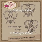 Butterflies, hearts and lace stamps 1