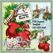 Candy Cane and Mitten Element Set and Template