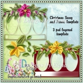 Poinsettia Swag with Frame Template
