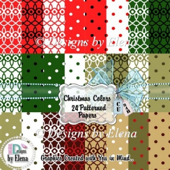 Christmas Color Patterned Papers