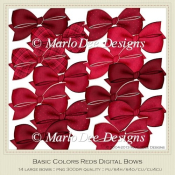 Basic Colors Red Digital Bow Graphics by Marlo