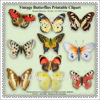 Vintage Butterflies - Printable Clipart - Set One - Design Kit