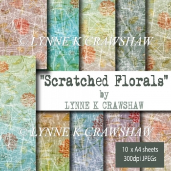 """SCRATCHED FLORALS"" by Lynne K Crawshaw - 10 digital A4 papers!"