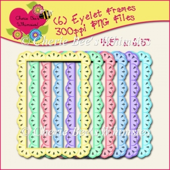 "Eyelet Lace Frames, Six Pastel Colors, 4.5"" x 6.5"" PNG Files CU"