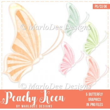 Peachy Keen Striped Wing Butterfly Graphics
