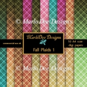 Fall Colors Plaids 1 Digital Papers A4 Size