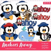 Anchors Away - Nautical Penguin Clip Art Collection