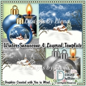 Winter Snowscene 4 Layered Template