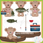 Let's Go Fishing Bears Clip Art