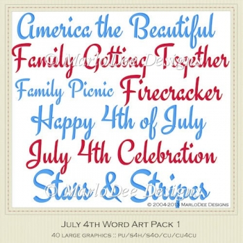 July 4th Word Art Package 1 by MarloDee Designs
