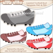 Layered Football Boot Template PNG & PSD - CU OK