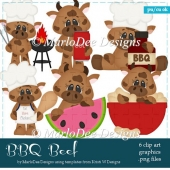 BBQ Beef - Summer Cows Clip Art Collection