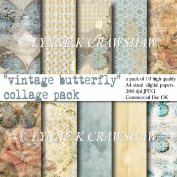 VINTAGE BUTTERFLY - Collage Pack - 10 x A4 digital papers CUOK!