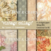"""VINTAGE COLLAGE"" 8 x A4 high quality printable digital papers"