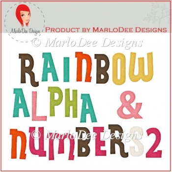 Rainbow Alpha Letters & Numbers 2 by MarloDee Designs