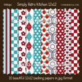 Simply Retro Kitchen 12x12 Papers