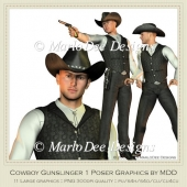 Cowboy Gunslinger Poser Graphics by MarloDee Designs