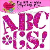 Pink Glitter Alpha, 300ppi, PNG Files, Puncuation Marks Included