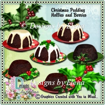 Christmas Pudding with Hollies and Berries