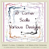 {Free} Floral Corners Pkg1 Graphics by MarloDee Designs