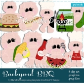 Backyard BBQ - Summer Season Pigs Clip Art Collection