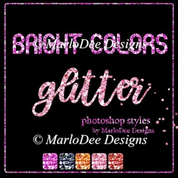 Bright Colors Glitter Photoshop Styles by MarloDee Designs