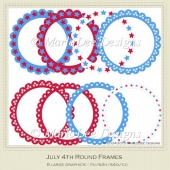July 4th Round Frames by MarloDee Designs