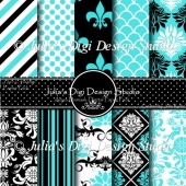 Aqua Damask Digital Paper Pack