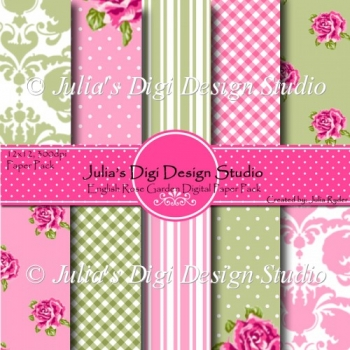 English Rose Garden Digital Paper Pack