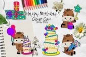Happy Birthday Clover Cow CU Clipart