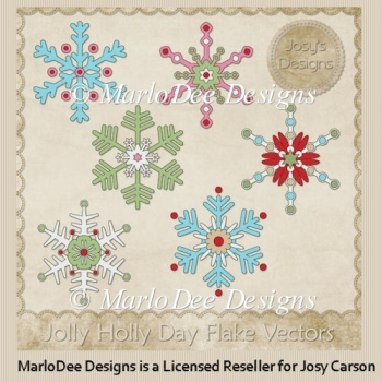 Jolly Holly Snowflakes PSD Layered Templates