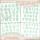 Arial Green Upper & Lower Case Letters - CU OK
