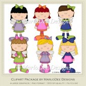 Angel Girls Clip Art Graphics by MarloDee Designs