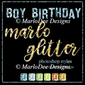 Boy Birthday Marlo Glitter Photoshop Styles by MarloDee Designs