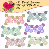 Floral Borders, Set of 6 Lovely Rows of Flowers, PNG Files, CU