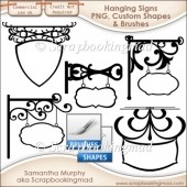 Hanging Signs - PNG - Custom Shapes .CSH - Brushes .ABR