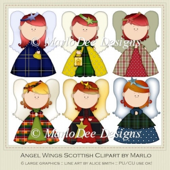 Angel Wings Scottish Clipart by MarloDee Designs