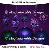 Purple Glitter Ornaments