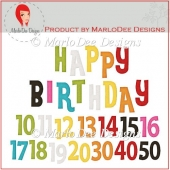 Colorful Birthday Numbers & Word Art Pkg 4