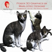 Grey Tabby Cat Graphics by MarloDee Designs