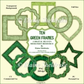 Ten Green Frames - Designer Resource For Commercial Use - CU
