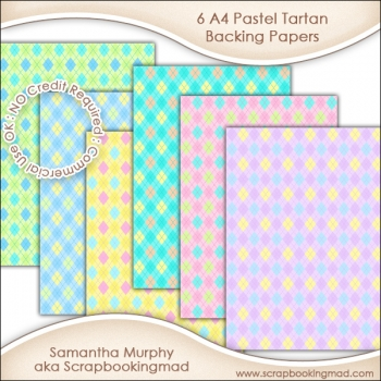 6 A4 Pastel Tartan Backing Papers - CU OK