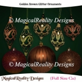 Golden Brown Glitter Ornaments