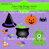 Halloween Party Digital Clipart Set.