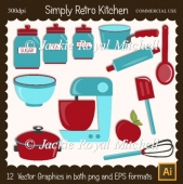 Simply Retro Kitchen Clipart Elements
